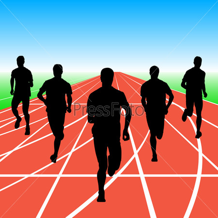 Set of silhouettes. Runners on sprint, men. illustration.