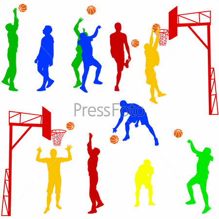 Silhouettes of men playing basketball