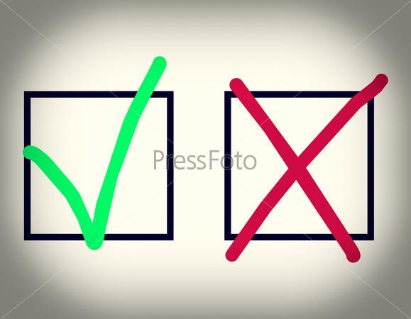 Зеленая галочка и красный крест