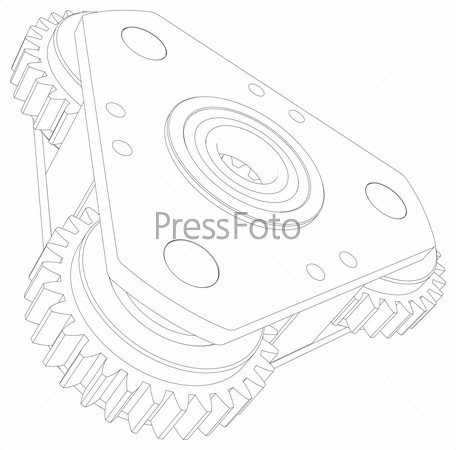Drawing of wire-frame gears. Perspective view. Vector illustration