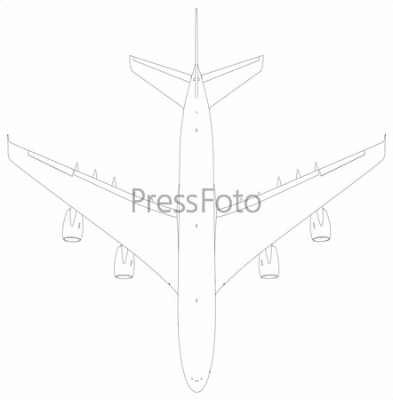 Drawing of wire-frame airplane. Top view. Vector Illustration