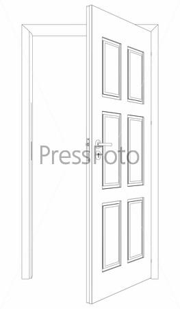 Wire-frame opened door. Vector Illustration