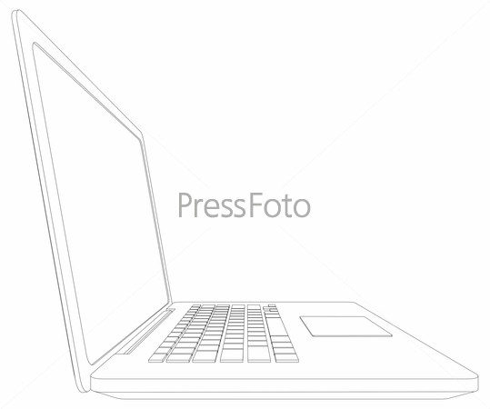 Sketch of wire-frame open laptop. Vector illustration