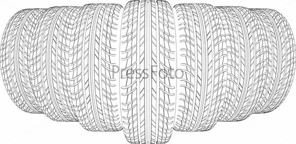 Sketch of seven wire-frame tires. Vector illustration
