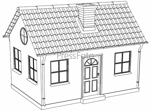 Wire-frame house. Vector illustration