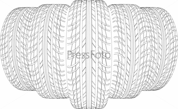 Sketch of five wire-frame tires. Vector illustration