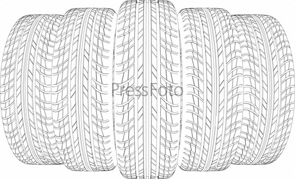 Drawing of five wire-frame tires. Vector illustration