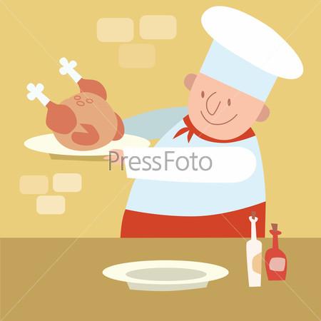 Chef restaurant in kitchen cooking poultry chicken
