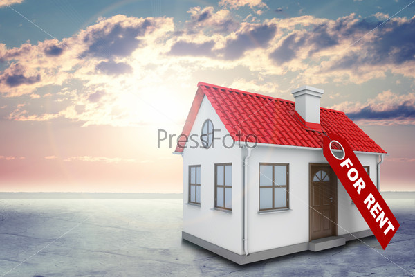 White house with label for rent, red roof and chimney. Background sun shines brightly, clouds