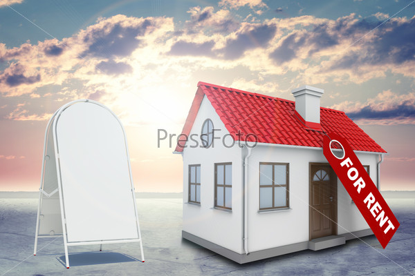 White house with label for rent, red roof, chimney and sidewalk sign. Background sun shines brightly