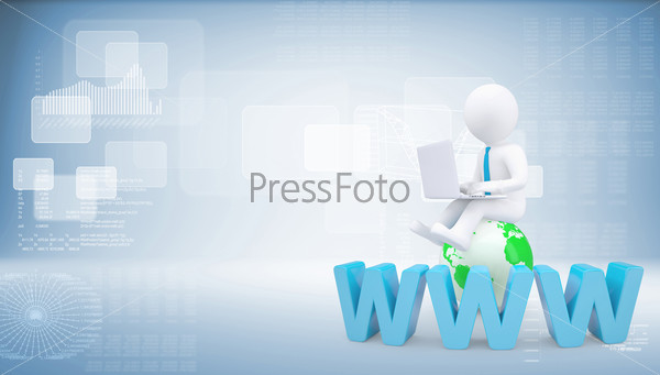 Graphic man with tie sitting on globe. Background of virtual screens