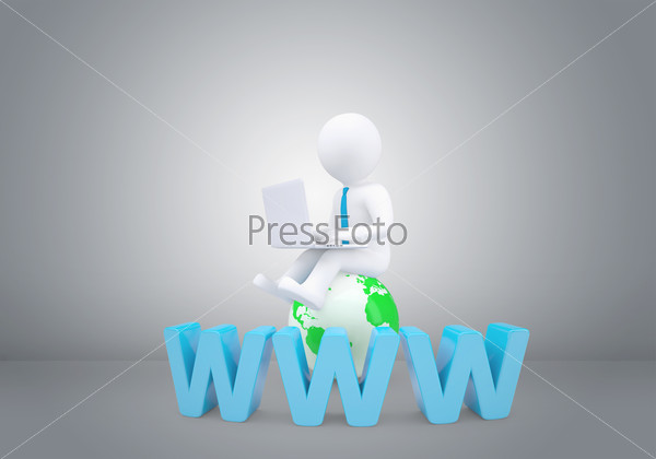 Graphic man with tie sitting on globe. Background of gray wall