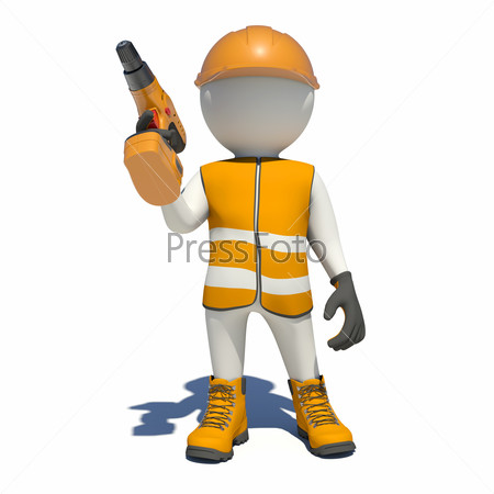 White man in special clothes with drill