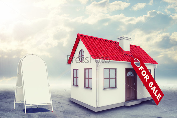 White house with label for sale, red roof, sidewalk sign and chimney. Background sun shines brightly