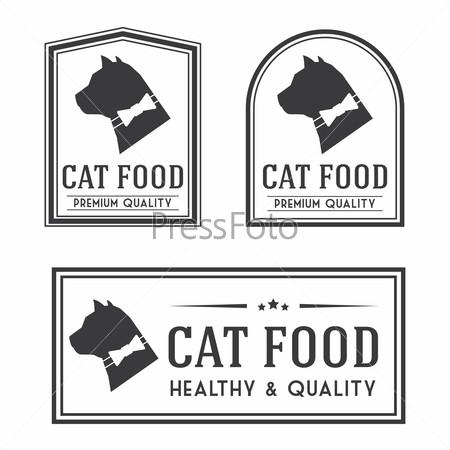 Vintage cat food badges and logotypes set.