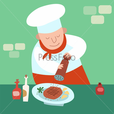 chef adds pepper to dish