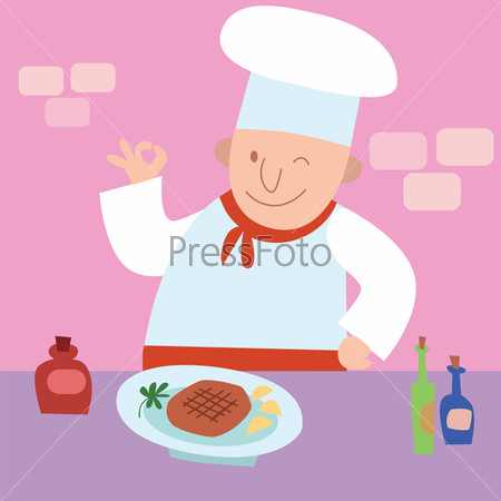 Cook gesture okay the finished dish a restaurant kitchen
