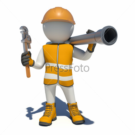 Worker in overalls holding wrench and sewer pipe. Isolated