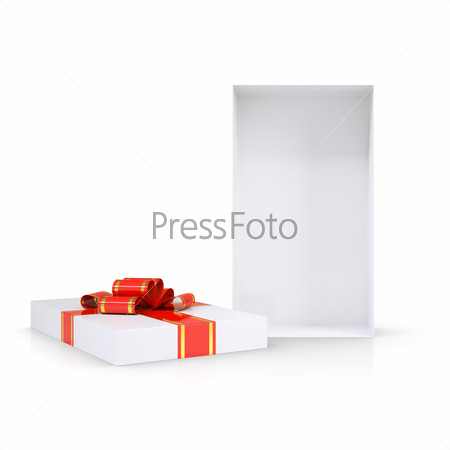Open empty gift box with red bow and ribbon. Isolated