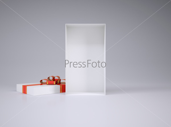 Open gift box and lid with ribbon