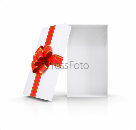 Gift box and red bow. Isolated