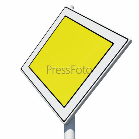 Square yellow road sign. Isolated