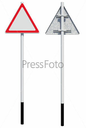 Triangle road sign. Front and back view. Isolated
