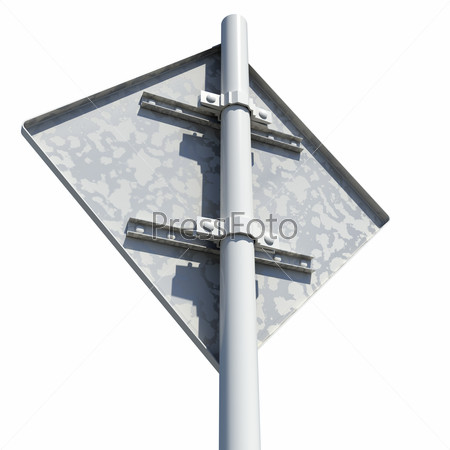 Square road sign. Rear view. Isolated