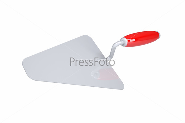 Trowel with red handle. Isolated