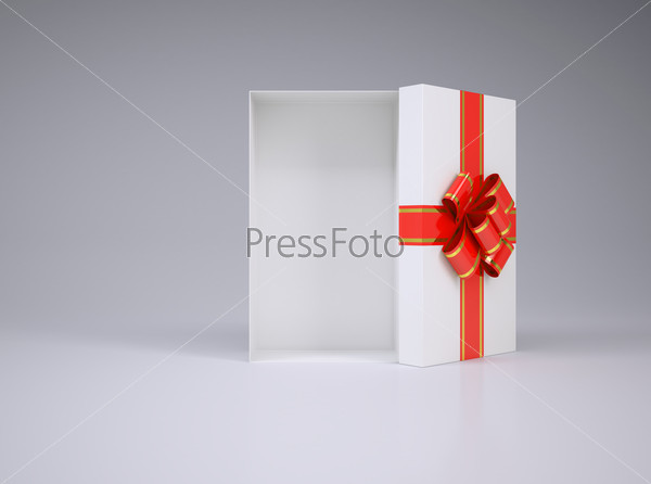 Open gift box with lid, bow and ribbon