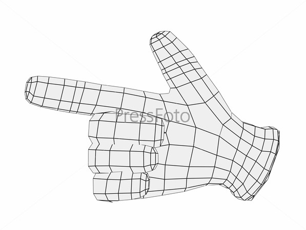 Wire-frame hand pointing finger. Front view