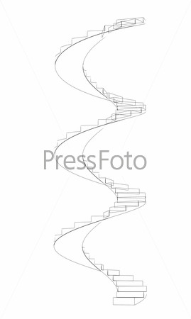 Wire-frame spiral stairs. Front view. Three full turns. Isolated