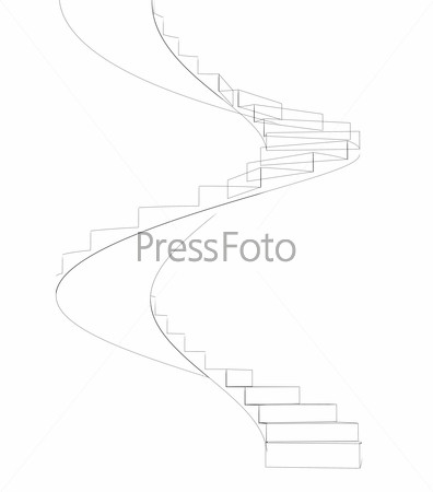 Wire-frame spiral stairs. Isolated