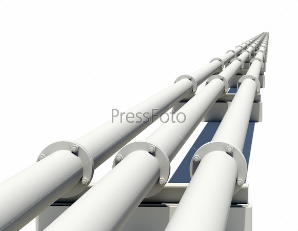 Three industrial pipes stretching into distance. Isolated