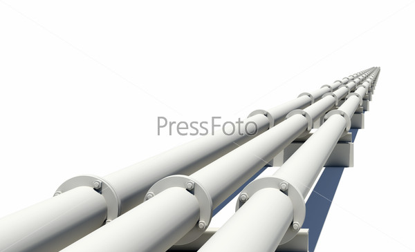 White industrial pipes stretching into distance. Isolated