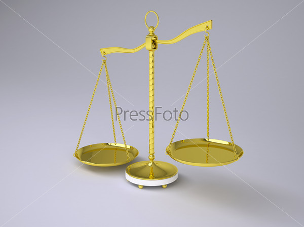 Gold beam balance with shadow. Concept of fair trial