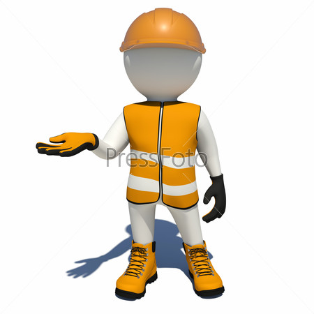 Worker in orange overalls holding empty palm up. Isolated