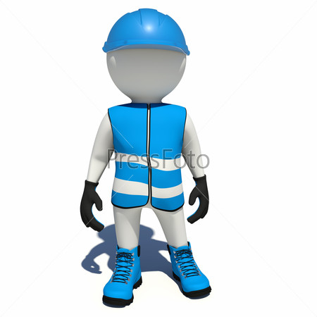Worker in blue overalls. Isolated