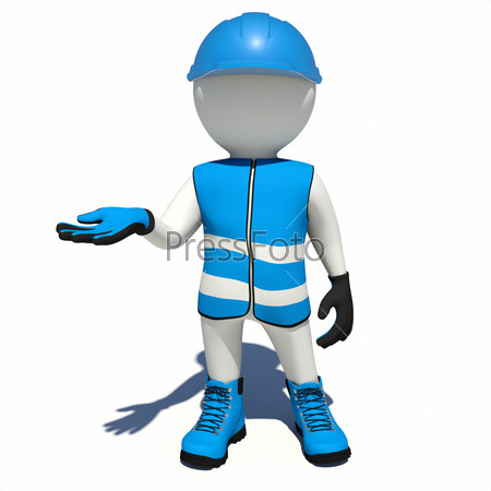 Worker in blue overalls holding empty palm up. Isolated