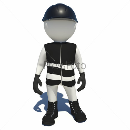 Worker in black overalls. Isolated