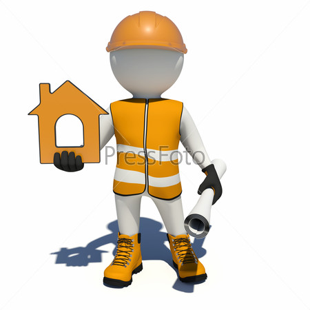 Worker in overalls holding house icon and scroll paper. Isolated