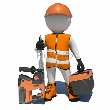 Worker in overalls holding electric perforator and tool box. Isolated