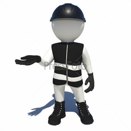 Worker in black overalls holding empty palm up. Isolated