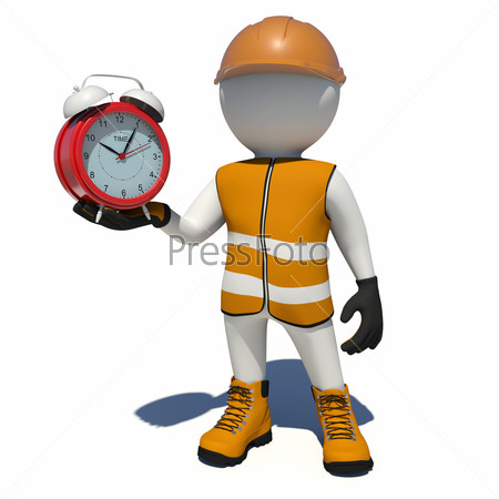 Worker in overalls holding red alarm clock. Isolated