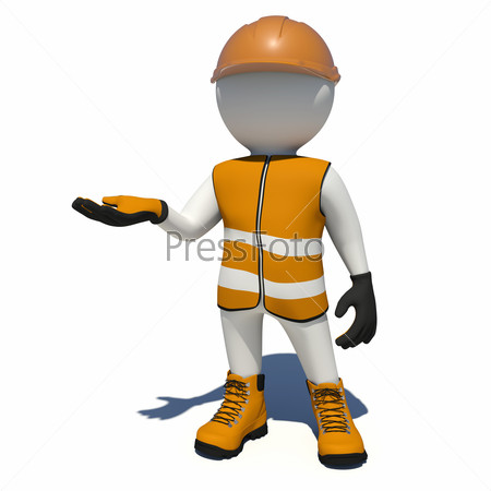 Worker in overalls holding empty palm up. Isolated