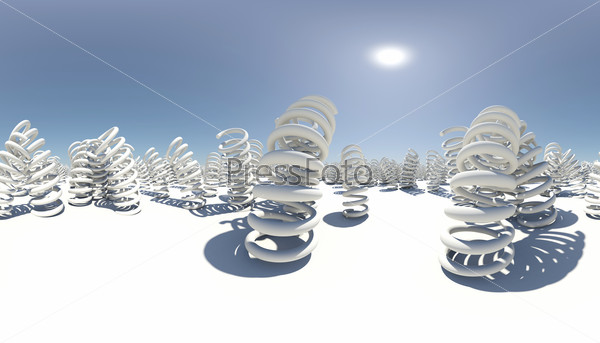 Spherical panorama of many springs. White surface. Blue sky as background