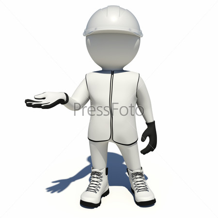 Worker in white overalls holding empty palm up. Isolated
