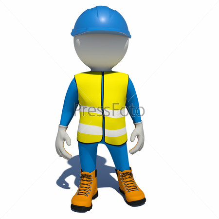 Worker in overalls. Isolated