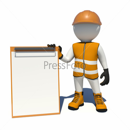 Worker in overalls holding empty clipboard. Isolated