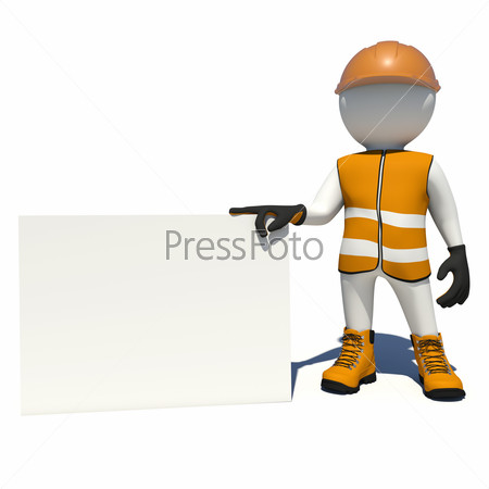 Worker in overalls holding big empty paper card. Isolated